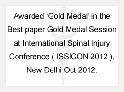 Awarded Gold Medal in the Best Paper Gold Medal Session at International Spinal Injury Conference (ISSICON 2012)
